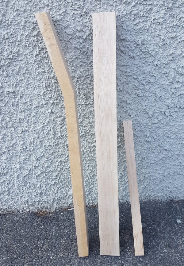 Neck blank maple A-Grade Angeled